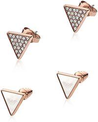 Emporio Armani - Signature Rose Goldtone Triangle Earrings - Lyst