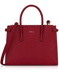Furla - Cherry Leather Pin Small E/w Tote Bag - Lyst