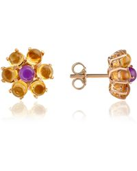 FORZIERI - Amethyst And Citrine Flower 18k Gold Earrings - Lyst