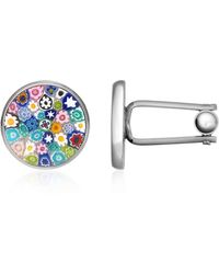 FORZIERI Millefiori Murano Glass Silver Plated Cuff Links - Blue