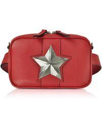 Les Jeunes Etoiles Leather Vega Belt Bag W/chain Strap - Red