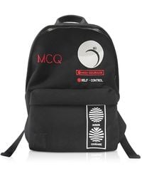 Alexander McQueen Classic Black Canvas Patch Backpack