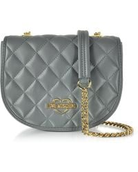 Love Moschino - Grey Superquilted Eco-leather Small Crossbody Bag - Lyst