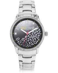 Just Cavalli - Huge Jc 3h Black Dial Silver Stainless Steel Women's Watch - Lyst
