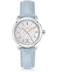 Trussardi T01 Lady Stainless Steel And Blue Leather Women's Watch - Metallic