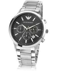 Emporio Armani Men's Black Dial Stainless Steel Chrono Watch - Metallic