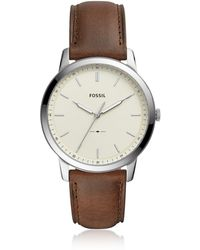 Fossil The Minimalist Three-Hand Brown Leather and Cream Dial Men's Watch - Mettallic