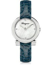 Ferragamo Gancino Damenuhr aus Edelstahl und Perlmutt mit Diamanten und Krokoarmband in blau - Mettallic