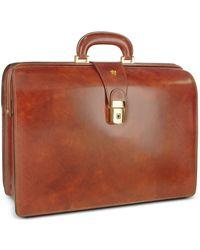 Pratesi Men's Leather Doctor Bag Briefcase - Brown