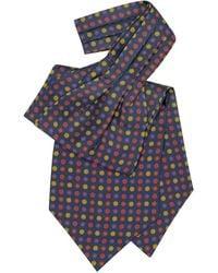 FORZIERI Floral Print Silk Tie Ascot - Blue