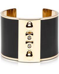 Pluma - Golden Brass And Black Enamel Cuff - Lyst