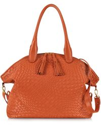 FORZIERI - Orange Woven Leather Bowler Bag - Lyst