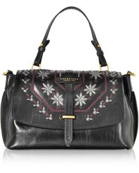 The Bridge Fiesole Embroidered Leather Satchel Bag - Black