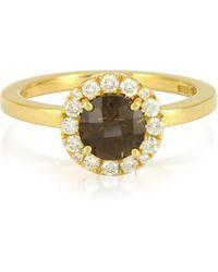 FORZIERI - 0.24 Ct Diamond Pave 18k Gold Ring W/ Smoky Quartz - Lyst