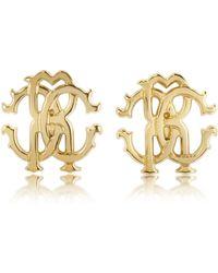 Roberto Cavalli - Rc Lux Golden Stud Earrings - Lyst
