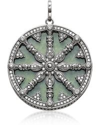 Thomas Sabo - Blackened Sterling Silver Pendant W/white Cubic Zirconia And Green Aventurine - Lyst