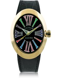 LOCMAN - Change Gold Plated Stainless Steel Oval Case Women's Watch W/3 Leather Straps - Lyst