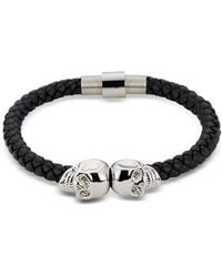 Northskull Black Leather Bracelet