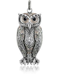 Thomas Sabo Rebel Icon Sterling Silver Owl Pendant W/cubic Zirconia - Metallic
