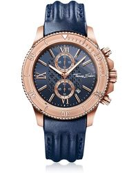 Thomas Sabo Rebel Race Rose Gold Stainless Steel Men's Chronograph Watch w/Blue Leather Strap - Azul