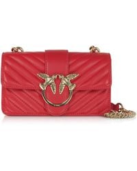 Pinko Love Mini Mix Quilted Nappa Leather Shoulder Bag - Rojo