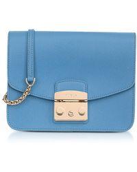Furla - Veronica Blue Lizard Printed Leather Metropolis Small Crossbody Bag - Lyst