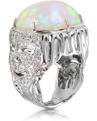 Bernard Delettrez - Drama Masks Gold Pave Ring W/opal And Diamonds - Lyst