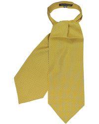 FORZIERI Yellow Paisley Printed Twill Silk Ascot Tie - Amarillo