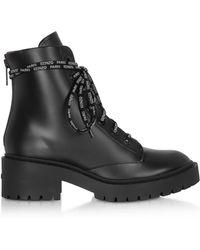 KENZO - Black Leather Women's Combat Boots - Lyst