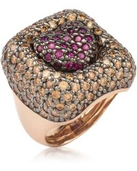 Azhar - Rose Sterling Silver Squared Heart Ring W/two-tone Cubic Zirconia - Lyst
