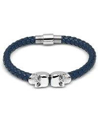 Northskull Denim Blue Nappa Leather W/ Silver Twin Skull Bracelet