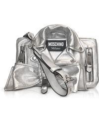 Moschino   Silver Metallic Leather Biker Jacket Clutch   Lyst