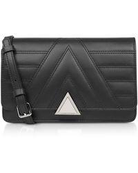 Lancaster Parisienne Matelassé Quilted Leather Crossbody Bag - Black