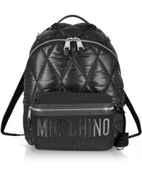 Moschino - Black Quilted Nylon And Canvas Backpack - Lyst