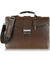 Giorgio Fedon New Class Leather Briefcase W/shoulder Strap - Brown