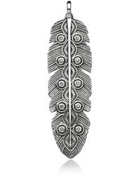 Thomas Sabo Rebel Icon Sterling Silver Ethno Feather Pendant W/cubic Zirconia - Metallic
