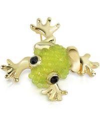 AZ Collection Vergoldete Brosche mit hellgrünem Frosch - Mettallic