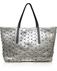 Jimmy Choo - Champagne And Silver Glitter Leather Large Pimlico Tote - Lyst
