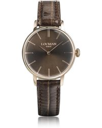 LOCMAN 1960 Rose Gold Pvd Stainless Steel Women's Watch W/brown Croco Embossed Leather Strap - Metallic