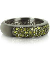 Azhar Ring aus Sterlingsilber mit Zirkonen in olivegrün - Schwarz