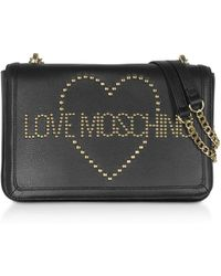 Love Moschino Signature Golden Studs Black Leather Shoulder Bag - Negro