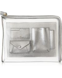 Anya Hindmarch Clear Vinyl and Silver Leather Envelope Folio Case - Metálico