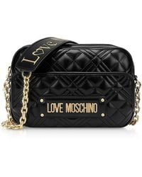 Love Moschino Quilted Synthetic Leather Camera Bag - Schwarz