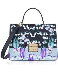 Furla - Campanelle Print Blue Leather Metropolis Medium Top Handle Satchel Bag - Lyst