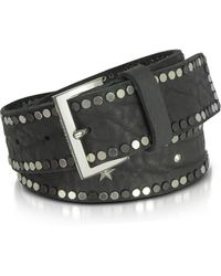 Zadig & Voltaire Black Studded Leather Starlight Belt - Schwarz