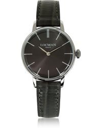 LOCMAN - 1960 Silver Stainless Steel Women's Watch W/brown Python Embossed Leather Strap - Lyst