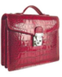 L.A.P.A. Cherry Croco-embossed Double Gusset Compact Briefcase - Red