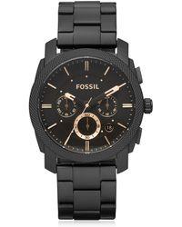 Fossil Machine Reloj Cronógrafo para Hombre de Acero Inoxidable Negro