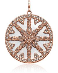 Thomas Sabo Rose Gold Plated Sterling Silver Round Pendant w/Mother of Pearl and White Cubic Zirconia - Pink