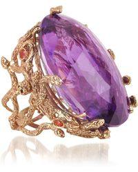 Bernard Delettrez Medusa Rose Gold W/dark Violet Amethyst Medusa Ring - Pink